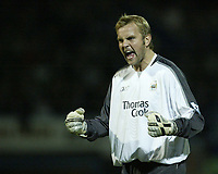 Photo: Aidan Ellis.<br /> Chesterfield United v Manchester City. Carling Cup. 20/09/2006.<br /> City keeper Nicky weaver shows his relief as his side score the first goal