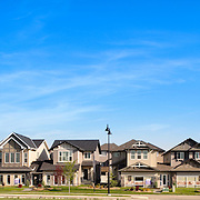 Roubhly 98 images seamlessly stiched together to create a close up panoramic of a Move Up Show Home Parade at Sunrise.