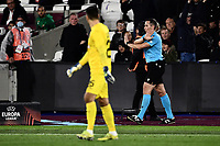 Football - 2021 / 2022 UEFA Europa League - Group H - Round Two - West Ham United vs Rapid Vienna - London Stadium - Thursday 30th September<br /> <br /> Referee Tobias Stieler (GER) overturns his penalty decision  for Rapid Vienna after VAR.<br /> <br /> COLORSPORT/Ashley Western
