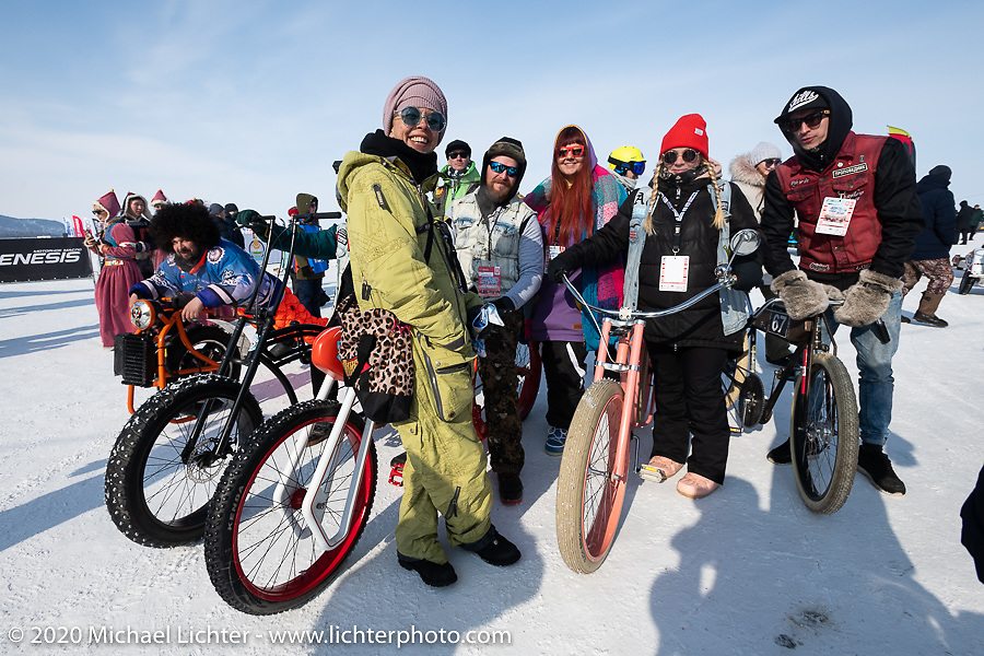A group of the bicycle racers at the Baikal Mile Ice Speed Festival opening ceremonies. Maksimiha, Siberia, Russia. Saturday, February 29, 2020. Photography ©2020 Michael Lichter.
