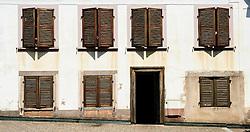 Shuttered windows in Bouxwiller, Alsace, France<br /> <br /> (c) Andrew Wilson   Edinburgh Elite media