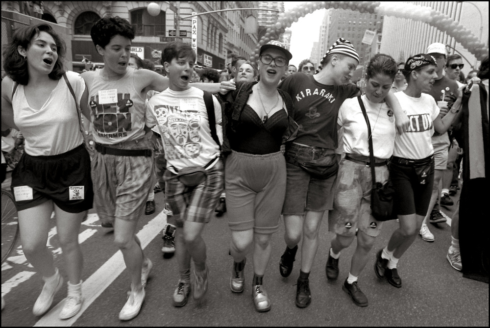 """Nancy Schwartz, Garance R Franke-Ruta and others on June 24, 1989, the 20th anniversary of the Stonewall riots, participating in a renegade march up 6th avenue to Central Park. Themed, """"In The Tradition"""", this march followed the same route as the original march 20 years ago and was designed as a rebuke to the corporatization of the gay pride parade."""