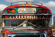 A colourful local bus in Antigua, a UNESCO World Heritage Site in Guatemala