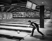 Ghent, Belgium, 15 oct 2016, Interior of O'learys, bowling and sportsbar at Dok Noord, showing American examples of similar renovations.