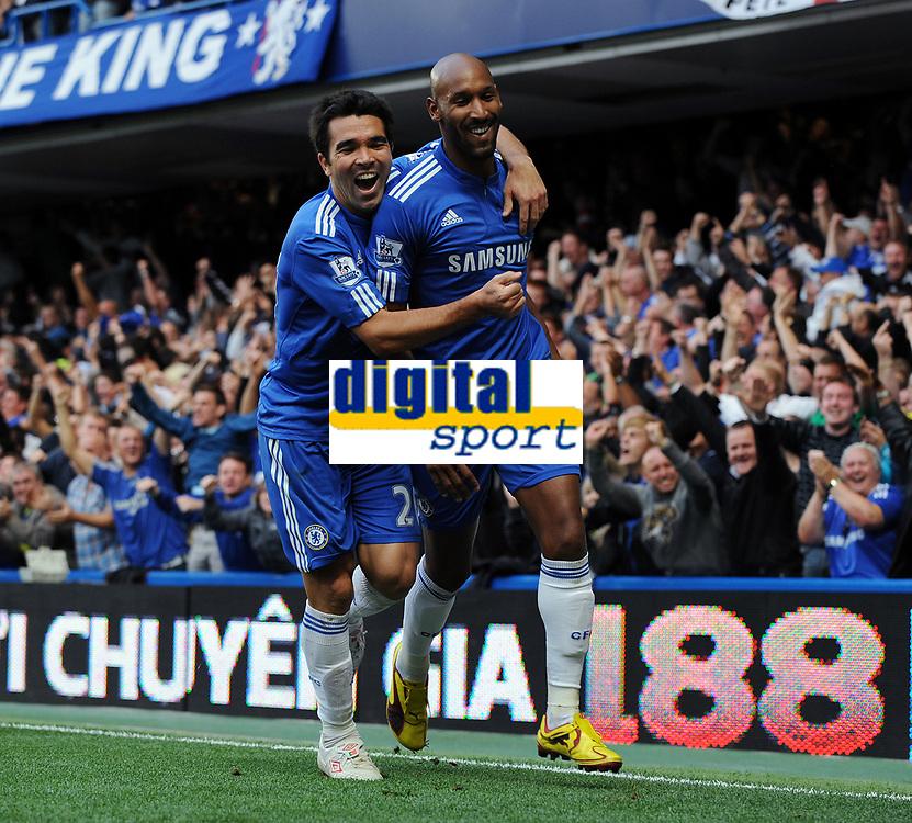 Nicolas Anelka Celebrates Scoring 1st Goal with team mate Deco<br /> Chelsea 2009/10<br /> Chelsea V Liverpool (2-0) 04/10/09<br /> The Premier League<br /> Photo Robin Parker Fotosports International