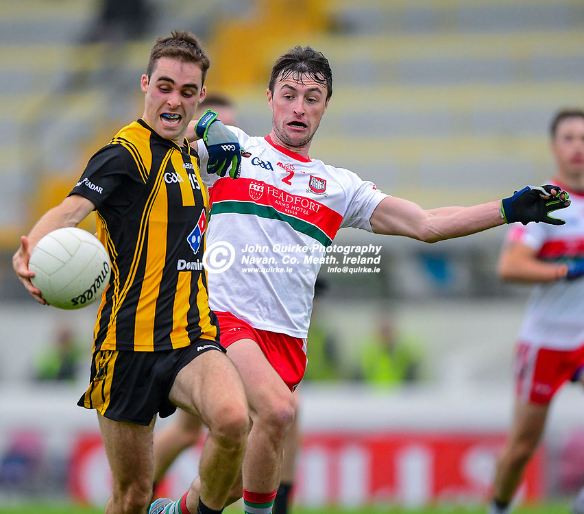 Dunboyne's Conor Bradley evades a tackle by Gaeil Colmcille's Jordan Muldoon,   in the Gaeil Colmcille v Dunboyne SFC  match in Pairc Tailteann, Navan.<br /> <br /> Photo: GERRY SHANAHAN-WWW.QUIRKE.IE<br /> <br /> 16-08-2020