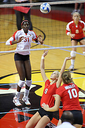 09 October 2009: Skylar Lesan goes to her knees for a save and set for the Braves. The Redbirds of Illinois State defeated the Braves of Bradley in 3 sets during play in the Redbird Classic on Doug Collins Court inside Redbird Arena in Normal Illinois