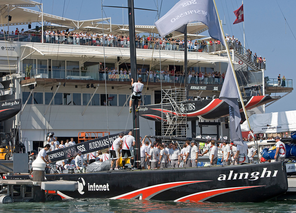 Race 6: ALINGHI wins by 28 seconds over Emirates Team New Zealand <br /> 32nd America's Cup, 2007<br /> Valencia, Spain<br /> © Daniel Forster