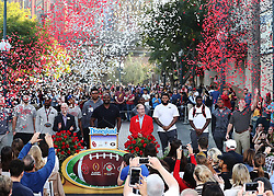 December 27, 2017 - Anaheim, CA, USA - Anaheim: Confetti flys over Oklahoma and Georgia head coaches and players during a news conference at Disney California Adventure Park for the Rose Bowl, on Wednesday, Dec. 27, 2017, in Anaheim, Calif. (Credit Image: © Curtis Compton/TNS via ZUMA Wire)