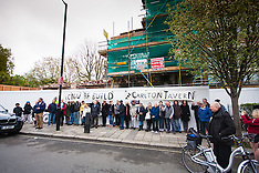"2015-04-26 Residents protest against illegal pub demolition by ""cowboy developers""."