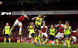 Arsenal's Lucas Torreira heads at goal during the Premier League match at the Emirates Stadium, London.
