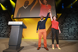 © Licensed to London News Pictures . 14/09/2019. Bournemouth, UK. Former Conservative Party MP SAM GYIMAH defects to the Lib Dems on the evening of the first day of the Liberal Democrat Party Conference at the Bournemouth International Centre . Photo credit: Joel Goodman/LNP