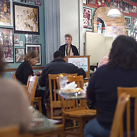 Erika Hayes, the Executive Director Behavioral Health Director, concludes the Gallup Community Provider's Meeting at Sammy C's in Gallup Tuesday.