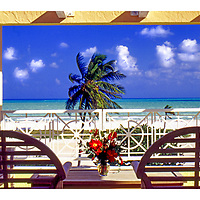 Balcony above Ocean Drive in South Beach, looks out to the Atlantic Ocean.  This view was captured in 1994 during the filming of the movie True Lies.