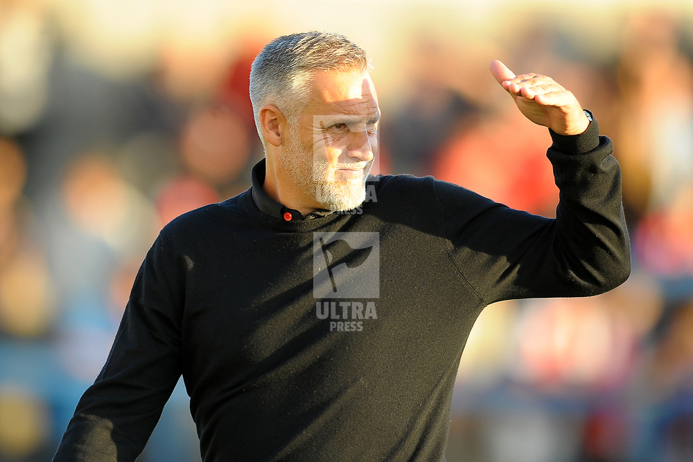 TELFORD COPYRIGHT MIKE SHERIDAN Harriers boss John Pemberton during the National League North fixture between AFC Telford United and Kidderminster Harriers on Tuesday, August 6, 2019.<br /> <br /> Picture credit: Mike Sheridan<br /> <br /> MS201920-006