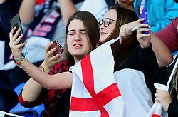 England fans wave flags in the stand - Mandatory by-line: Matt McNulty/JMP - 19/09/2017 - FOOTBALL - Prenton Park - Birkenhead, United Kingdom - England v Russia - FIFA Women's World Cup Qualifier