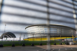 Glasgow, Scotland, UK. 23rd October 2021. Views of the site during final preparations with one week till opening  of UN Climate Change Conference UK COP26 which is being held in Glasgow in 2021. Pic; COP26 venue is seen through a security fence. Iain Masterton/Alamy Live News.