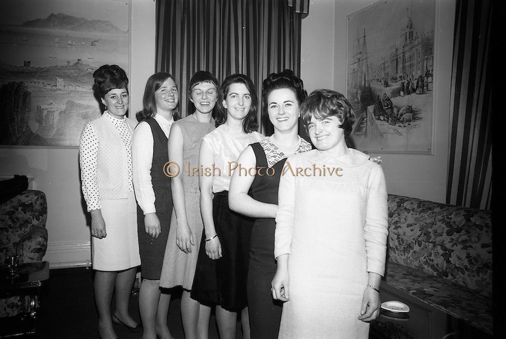 16/2/1966<br /> 2/16/1966<br /> 16 February 1966<br /> <br /> (L-R) Angela Lynch (Ballyfermot) Mary Lawlor(Ranelagh) Phillis Martin(Ballyfermot) Nuala Whelan(Mullingor) Mary Dennis (Clonsilla) at the All Ireland Judo Championships Reception held at the Jurys Hotel