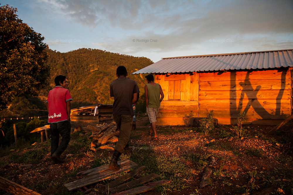 El CALVARIO, MEXICO - AUGUST 5, 2015: Three young men in the community of El Calvario, near to Chilpancingo city, the capital of the state of Guerrero. Almost all its population work in the sowing of opium poppy as unique way to survive economically. Rodrigo Cruz for The New York Times