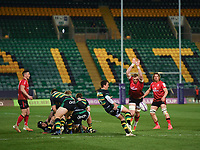 Rugby Union - 2020 / 2021 ER Challenge Cup - Quarter-final - Northampton Saints vs Ulster - Franklin Gardens<br /> <br /> Northampton Saints' Alex Mitchell under pressure from Ulster Rugby's Kieran Treadwell<br /> <br /> COLORSPORT/ASHLEY WESTERN