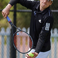 Sewickley PA - April 20:  During the Quaker Valley High School Varsity Boys Sectional Doubles Tournament on April 20, 2021 at Nichols Field in Sewickley PA.  (Photo by Shelley Lipton)
