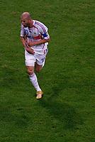 Photo: Glyn Thomas.<br />Portugal v France. Semi Final, FIFA World Cup 2006. 05/07/2006.<br /> France's Zinedine Zidane celebrates scoring the winning penalty.