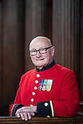 May0090937 . Daily Telegraph<br /> <br /> Arts<br /> <br /> Britiain's Got Talent winner and Korean war veteran Colin Thackeray photographed at the Royal Hospital Chelsea, where he resides .<br /> <br /> <br /> London 7 August 2019
