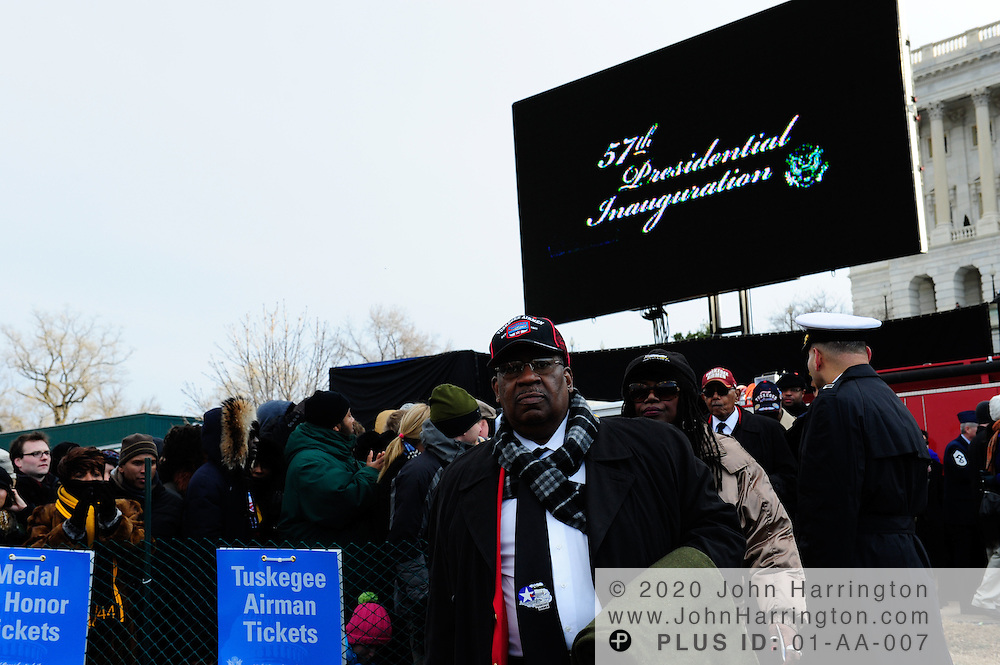 Members of the Tuskegee Airmen arriving to attend the 57th Presidential Inauguration of President Barack Obama at the U.S. Capitol Building in Washington, DC January 21, 2013.