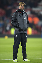 Halbfinale im Liga-Pokal Liverpool vs Leeds 1:0 in Liverpool / 291116<br /> <br /> ***LIVERPOOL, ENGLAND 29TH NOVEMBER 2016:<br /> Liverpool manager Jurgen Klopp smiles as he watches the warm up before the English League Cup soccer match between Liverpool and Leeds at Anfield Stadium in Liverpool England November 29th 2016***