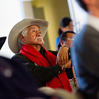 010413     Brian Leddy<br /> D.H. Freeland listens to speakers during a Navajo Nation Human Rights Commission meeting Friday at the Crownpoint Chapter House. About 70 people showed up for the meeting.