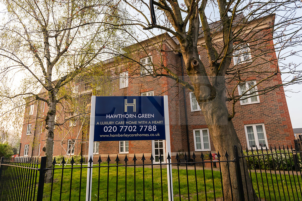 © Licensed to London News Pictures. 09/04/2020. London, UK. A general view of Hawthorn Green Care Home in Stepney, where seven residents are reported to have died with suspected Covid-19 coronavirus, a further 21 are reported to be ill with symptoms and a number of staff are off work self-isolating or shielding. The government's Chief Medical Officer, Chris Whitty has warned that nearly one in ten care homes nationwide has has registered cases of the coronavirus. Photo credit: Vickie Flores/LNP