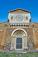 12th century facade of the 8th century Romanesque Basilica church of St Peters, Tuscania, Lazio, Italy .<br /> <br /> Visit our ITALY PHOTO COLLECTION for more   photos of Italy to download or buy as prints https://funkystock.photoshelter.com/gallery-collection/2b-Pictures-Images-of-Italy-Photos-of-Italian-Historic-Landmark-Sites/C0000qxA2zGFjd_k .<br /> <br /> Visit our MEDIEVAL PHOTO COLLECTIONS for more   photos  to download or buy as prints https://funkystock.photoshelter.com/gallery-collection/Medieval-Middle-Ages-Historic-Places-Arcaeological-Sites-Pictures-Images-of/C0000B5ZA54_WD0s