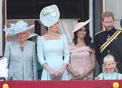 (left to right) Duchess of Cornwall, Duchess of Cambridge, and the Duke and Duchess of Sussex on the balcony of Buckingham Palace, in central London, following the Trooping the Colour ceremony at Horse Guards Parade as the Queen celebrates her official birthday.