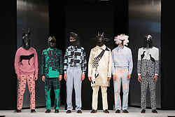 """© Licensed to London News Pictures. 02/06/2015. London, UK. Collection by Maria Philippou, University of Salford. Runway show """"Best of Graduate Fashion Week 2015"""". Graduate Fashion Week takes place from 30 May to 2 June 2015 at the Old Truman Brewery, Brick Lane. Photo credit : Bettina Strenske/LNP"""