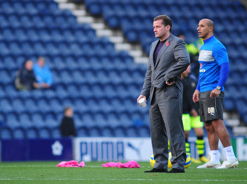 Preston North End's Manager Graham Westley, left, and Preston North End's first team coach Dino Maamria..Football - FA Challenge Cup First Round - Preston North End v Yeovil Town - Saturday 3rd November 2012 - Deepdale - Preston..