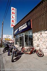 Arlen Ness' custom bikes on display outside his third East 14th Street store. San Leandro, CA Photograph ©Michael Lichter 1989