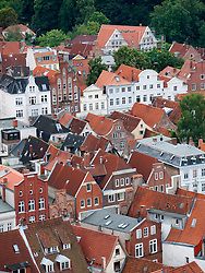 View of old houses in historic city of Lubeck in Germany