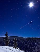 Moonlight and stars over McIntyre Creek, Yukon, at Christmas