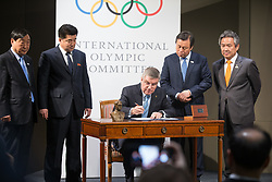 LAUSANNE, Jan. 20, 2018  Lee Hee-beom, president of the PyeongChang Organizing Committee for the 2018 Olympic and Paralympic Winter Games (POCOG), the Democratic People's Republic of Korea (DPRK)'s Olympic Committee President and Sports Minister Kim Il Guk, International Olympic Committee (IOC) President Thomas Bach, South Korea's Sports Minister Do Jong-hwan and South Korea's President of the National Olympic Committee (NOC) Lee Kee-heung (From L to R) attend a signing ceremony after a four-party meeting at the IOC headquarter in Lausanne, Switzerland, Jan. 20, 2018. (Credit Image: © Xu Jinquan/Xinhua via ZUMA Wire)