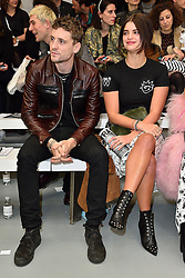 © Licensed to London News Pictures. 23/02/2016. GEORGE BARNETT and PIXIE GELDOF attend the ASHLEY WILLIAMS show at the London Fashion Week Autumn/Winter 2016 show. Models, buyers, celebrities and the stylish descend upon London Fashion Week for the Autumn/Winters 2016 clothes collection shows. London, UK. Photo credit: Ray Tang/LNP