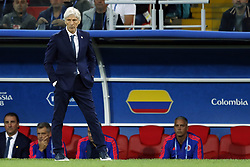 Colombia coach Jose Pekerman during the 2018 FIFA World Cup Russia round of 16 match between Columbia and England at the Spartak stadium  on July 03, 2018 in Moscow, Russia