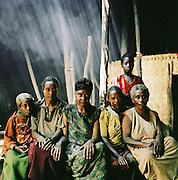 Group portrait of Hamer village women, Turmi, Lower Omo Valley, Ethiopia