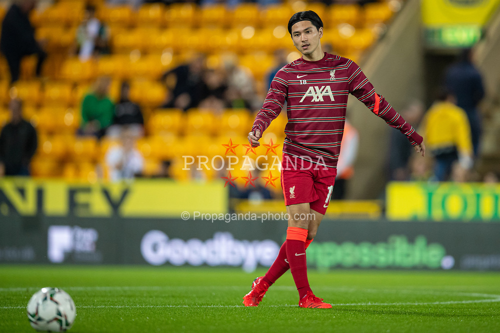 NORWICH, ENGLAND - Tuesday, September 21, 2021: Liverpool's Takumi Minamino during the pre-match warm-up before the Football League Cup 3rd Round match between Norwich City FC and Liverpool FC at Carrow Road. Liverpool won 3-0. (Pic by David Rawcliffe/Propaganda)