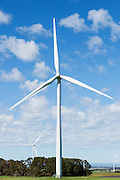 wind turbine in a rural paddock in the countryside at the Mount Mercer wind farm, Victoria, Australia <br /> <br /> Editions:- Open Edition Print / Stock Image