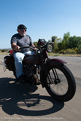 Rick Salisbury of the Legends Motorcycle Museum riding his 1928 Indian Ace on the Motorcycle Cannonball coast to coast vintage run. Stage 8 (314 miles) from Spirit Lake, IA to Pierre, SD. Saturday September 15, 2018. Photography ©2018 Michael Lichter.