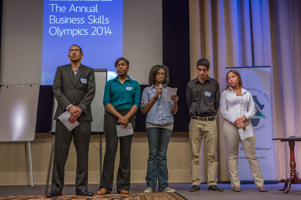 Purchase, NY – 31 October 2014. The team from Gorton High School giving their presentation. (From  left to right: Kevin Disln, Giselle Cole, Imani Pierre, Ibrahim Haddad and Brooke Martinez.) The Business Skills Olympics was founded by the African American Men of Westchester, is sponsored and facilitated by Morgan Stanley, and is open to high school teams in Westchester County.