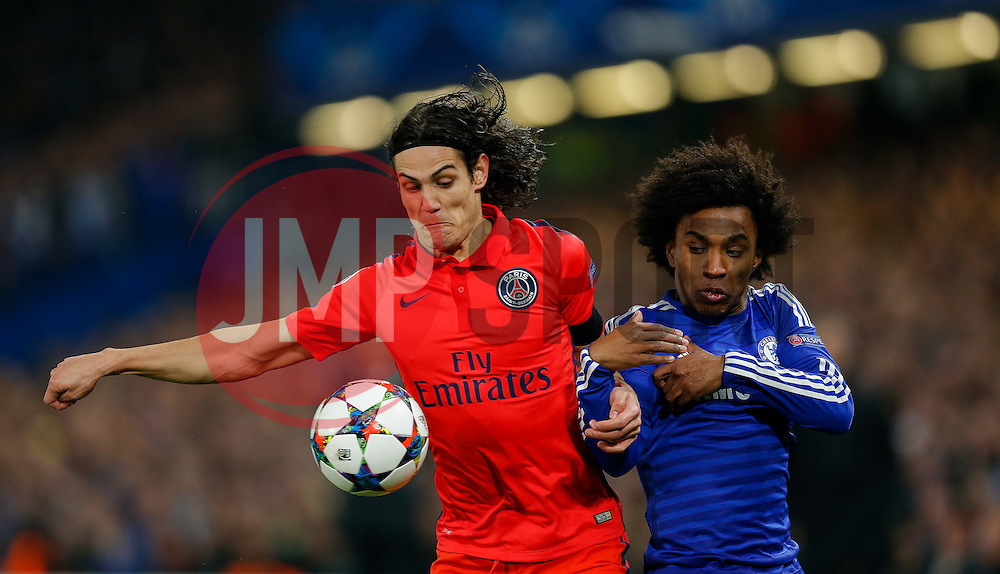Edinson Cavani of Paris Saint-Germain and Willian of Chelsea compete for the ball - Photo mandatory by-line: Rogan Thomson/JMP - 07966 386802 - 11/03/2015 - SPORT - FOOTBALL - London, England - Stamford Bridge - Chelsea v Paris Saint-Germain - UEFA Champions League Round of 16 Second Leg.