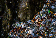 Details of Glass Beach at Fort Bragg, Mendocino, California<br />