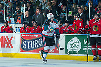 KELOWNA, CANADA - APRIL 8: Kole Lind #16 of the Kelowna Rockets celebrates a second period goal as he skates past the bench of the Portland Winterhawks on April 8, 2017 at Prospera Place in Kelowna, British Columbia, Canada.  (Photo by Marissa Baecker/Shoot the Breeze)  *** Local Caption ***