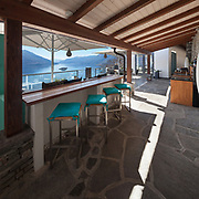 beautiful veranda of a luxury house, counter top with stools
